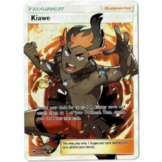 Kiawe Trainer Full Art Pokemon Card Sun and Moon Burning Shadows 144/147 Ultra Rare Holo