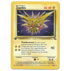 Zapdos 1st Edition Pokemon Card Fossil Set 30/62 Rare