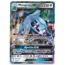 Metagross GX Pokemon Card Sun and Moon Guardians Rising 85/145 Ultra Rare Holo